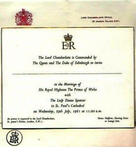 zaproszenie na ślub Księcia Karola i Księżny Diany