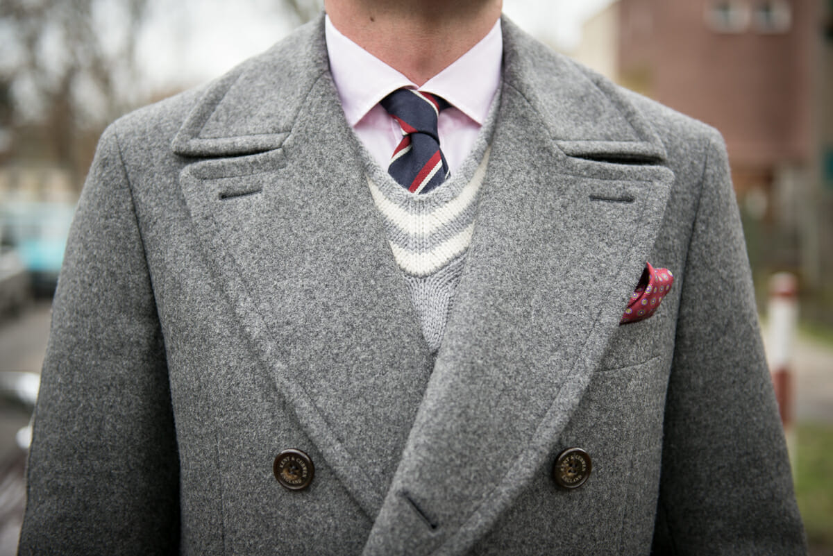 regimental tie and cricket sweater
