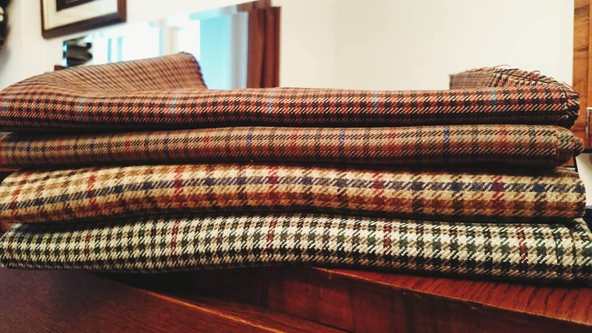 materiał tweed w kratę
