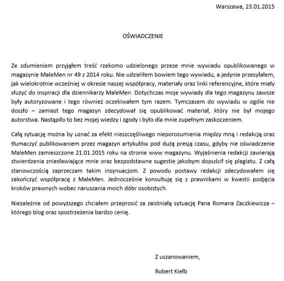 oświadczenie Robert Kiełb