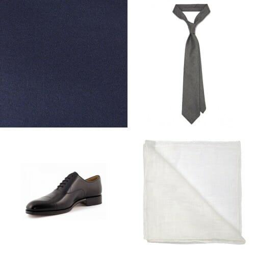 Sklep.Szarmant.pl - rekomendowany zestaw dla prawnika na jesień/zimę składający się z granatowej angielskiej tkaniny, szarego wełnianego krawata, czarnych oksfordów oraz białej lnianej poszetki