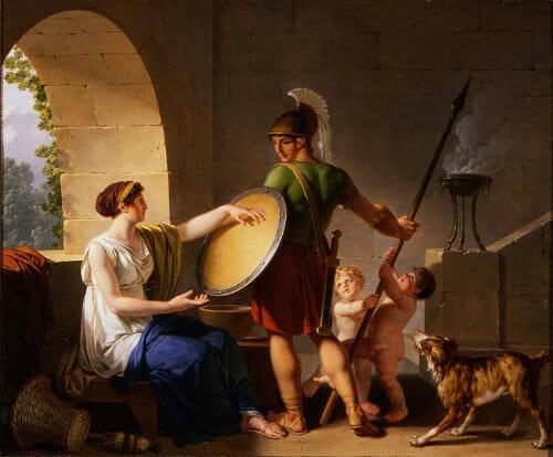 1 Jean-Jacques-François_Le_Barbier_-_A_Spartan_Woman_Giving_a_Shield_to_Her_Son