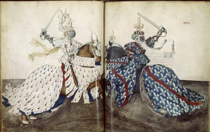 3 René_d'Anjou Księga turniejów II poł XV w książę Bretanii vs książę Burbonii