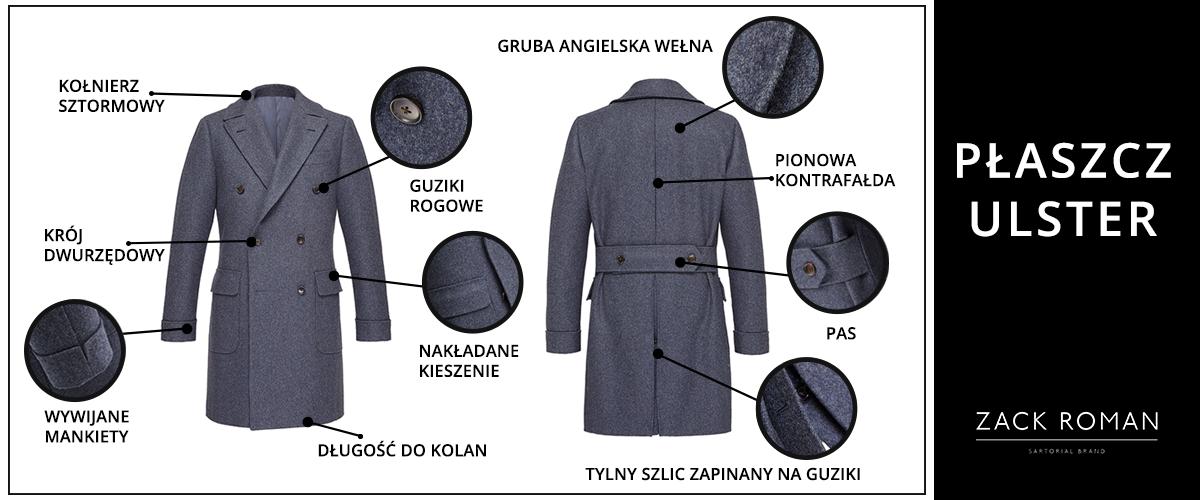 elegancki płaszcz męski ulster