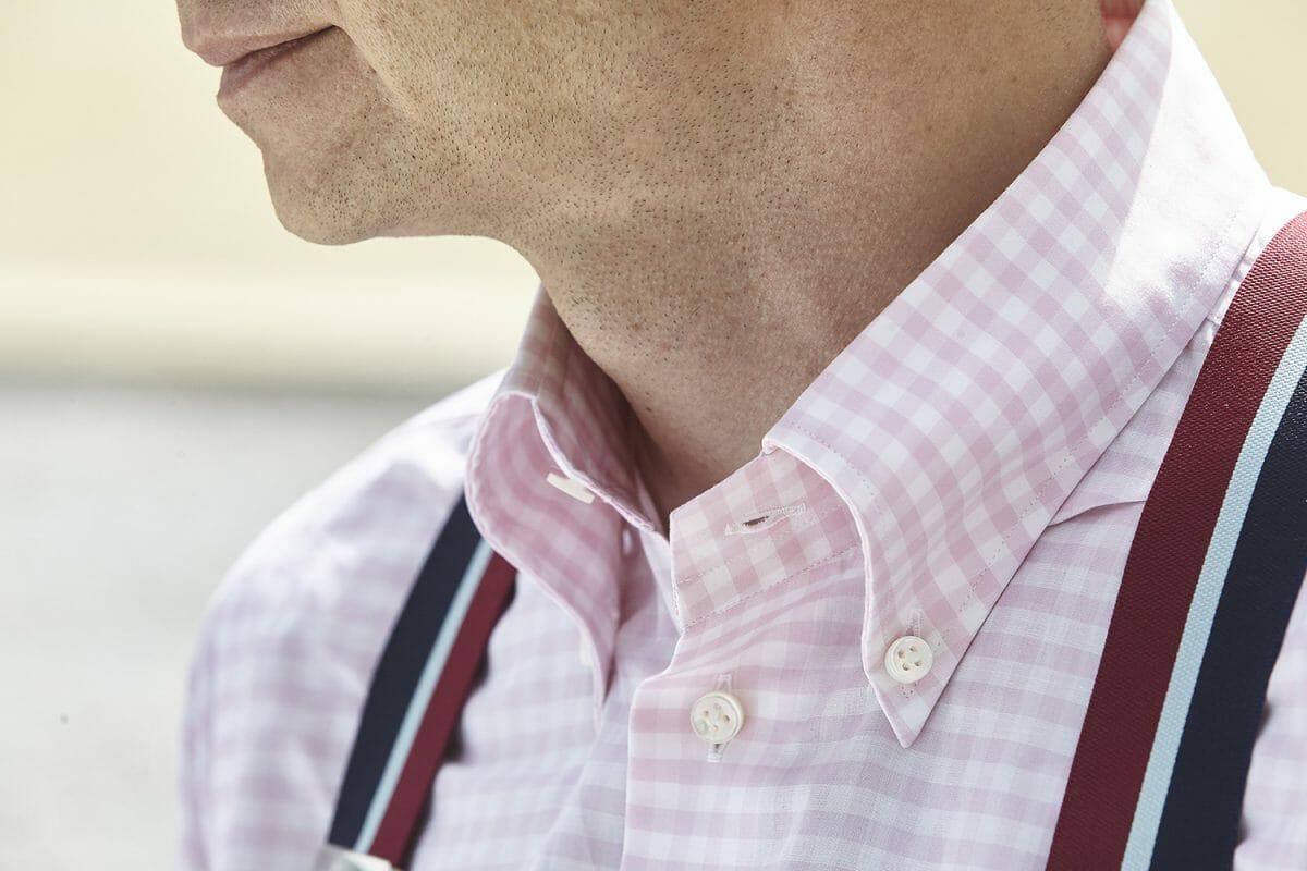 koszula w biało różową kratę