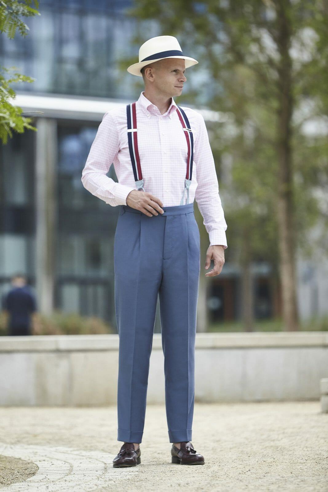 niebiesko szare spodnie