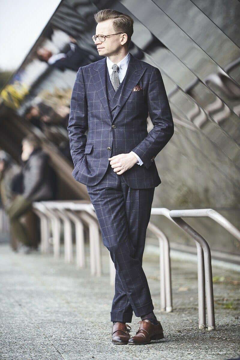 Windowpane suit three piece