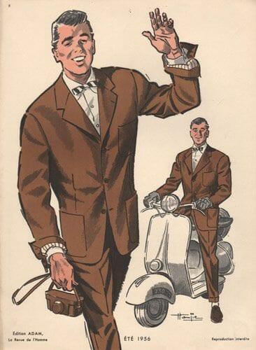 modny brązowy garnitur