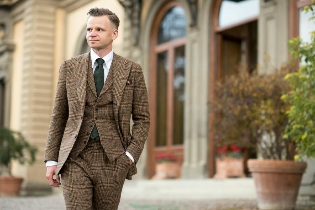 garnitur tweedowy męski