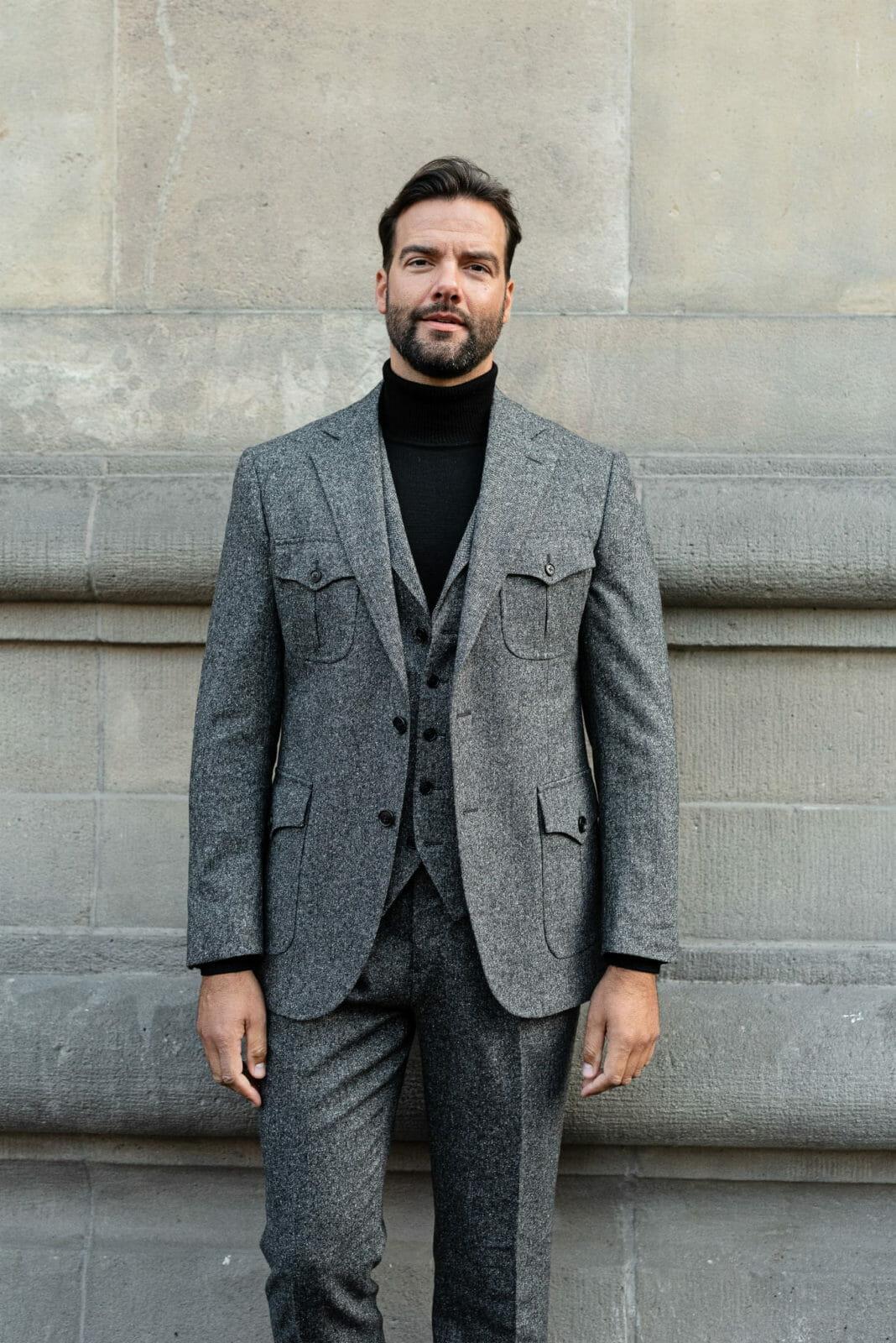 szara marynarka tweedowa męska
