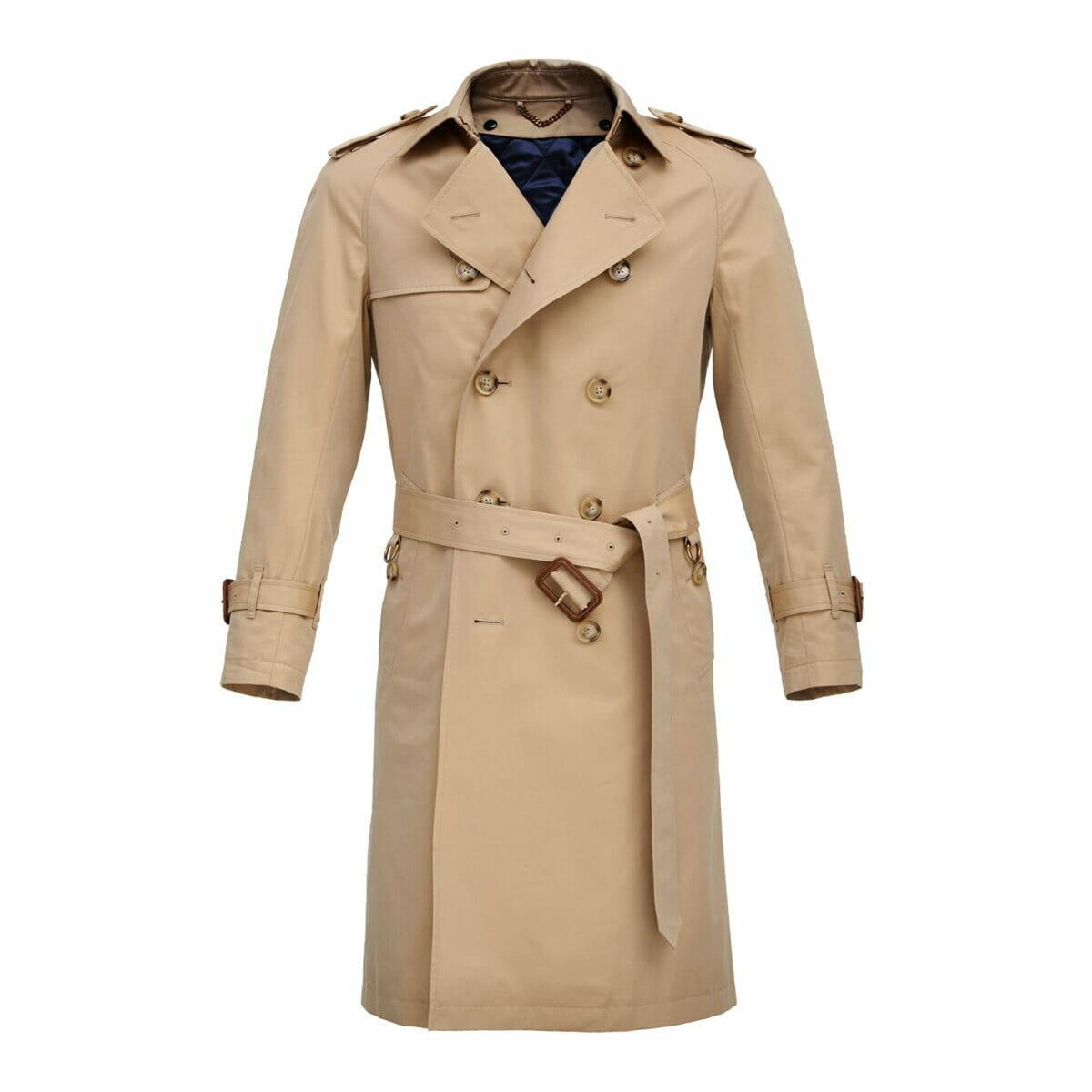 płaszcz dwurzędowy - gabardyna bawełniana