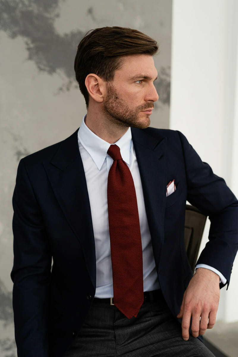 Krawat ślubny bordo